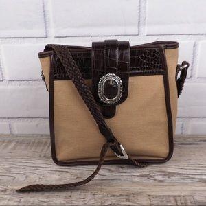Brighton canvas & leather braided strap xbody bag